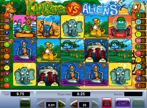 Символи ігрового автомата Kangaroo vs Aliens