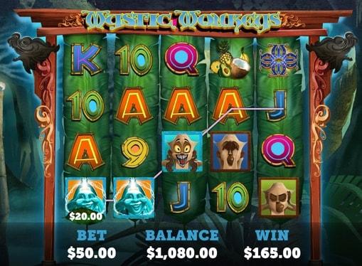 Випадання виграшної комбінації в автоматі Mystic Monkeys