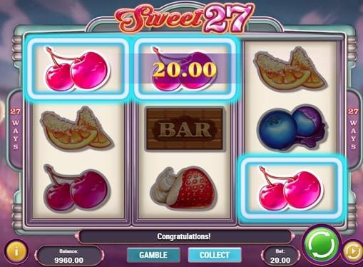 Виграшна комбінація на лінії в автоматі Sweet 27