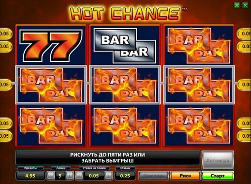 BAR символи на барабанах Hot Chance