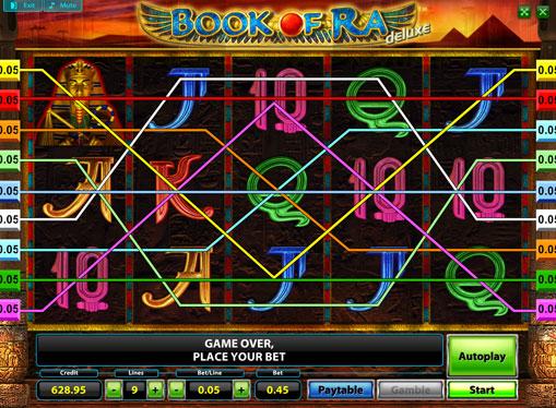 Виграшні лінії онлайн слота Book of Ra Deluxe