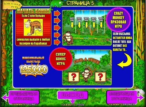 Бонус ігри в слоті Crazy Monkey