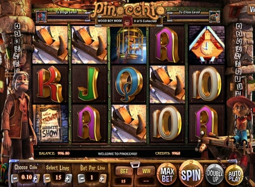 Комбінація символів в ігровому автоматі Pinocchio