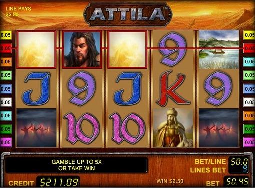 Виграшна комбінація в онлайн ігровому автоматі Attila