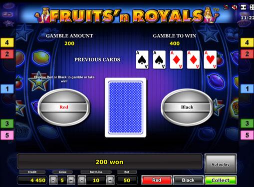 Ризик гра на апараті Fruits'n Royals Deluxe
