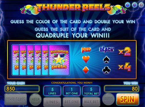 Гра на подвоєння в автомат Thunder Reels