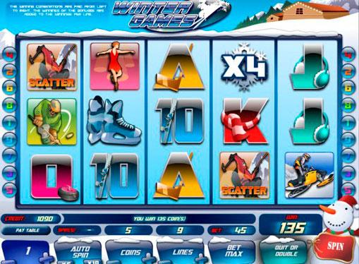 Комбінація символів на автоматі Winter Games