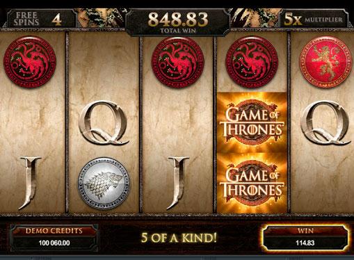Випадання бонусів в ігровому автоматі Game of Thrones