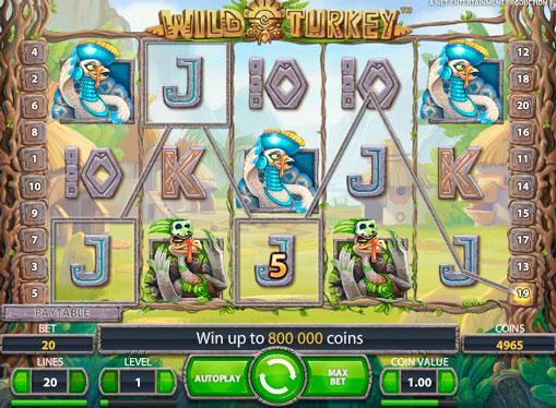 Випадання виграшної комбінації на апараті Wild Turkey