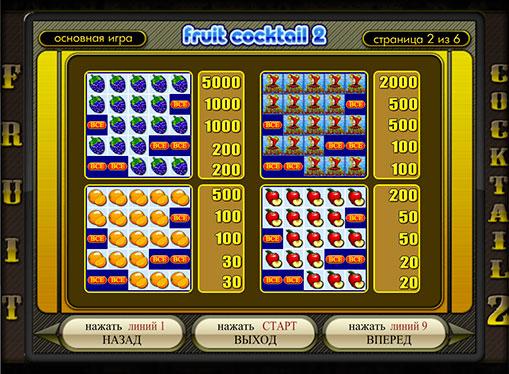 Таблиця коефіцієнтів слота Fruit Cocktail 2