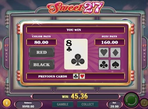 Раунд на множення в ігровому апараті Sweet 27