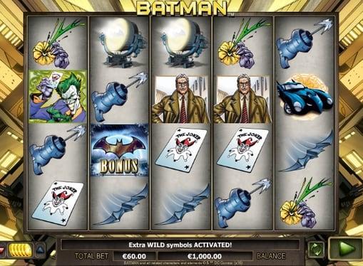 Комбінація символів в ігровому автоматі Batman