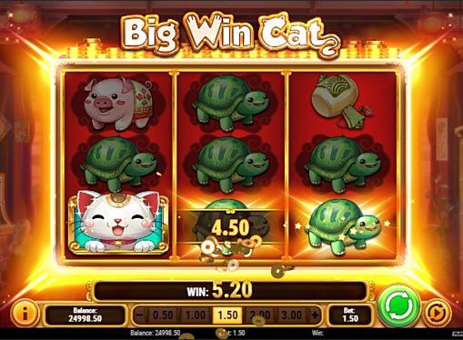 Призовая комбінація в ігровому автоматі Big Win Cat