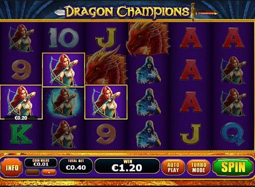 Призова комбінація на лінії в ігровому автоматі Dragon Champions
