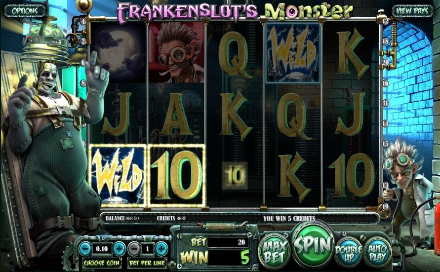 Призова комбінація на лінії в ігровому автоматі Frankenslot's Monster