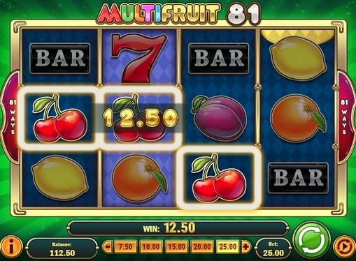 Комбінація вишеньок в ігровому автоматі Multifruit 81