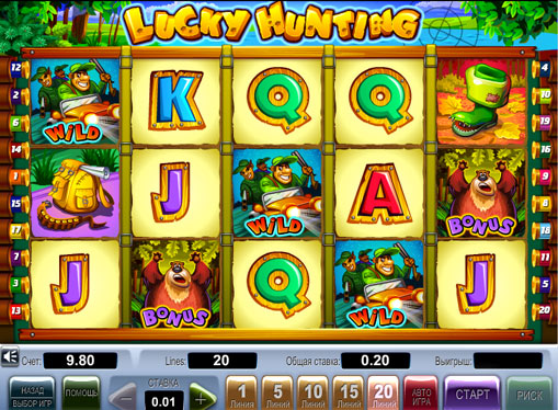 Дикі символи і бонуси в автоматі Lucky Hunting