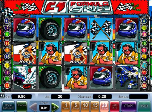 Бонуси і символи в онлайн апараті Formula 1