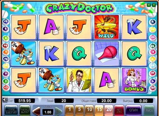 Символи ігрового автомата Crazy Doctor