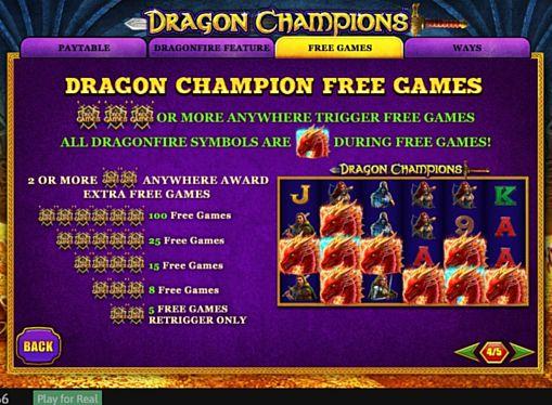 Правила фріспінів в онлайн слоті Dragon Champions