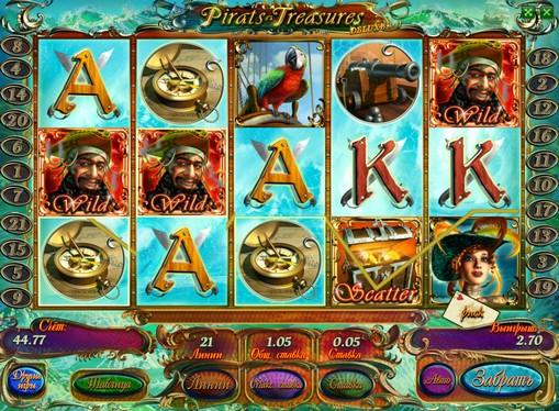 Випадання дикого символу і Скаттер на апараті Pirates Treasures HD