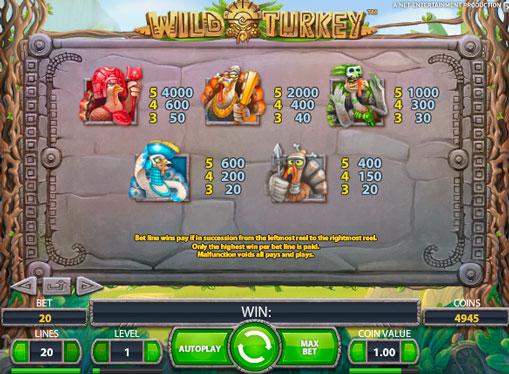 Коефіцієнти виплат гри Wild Turkey
